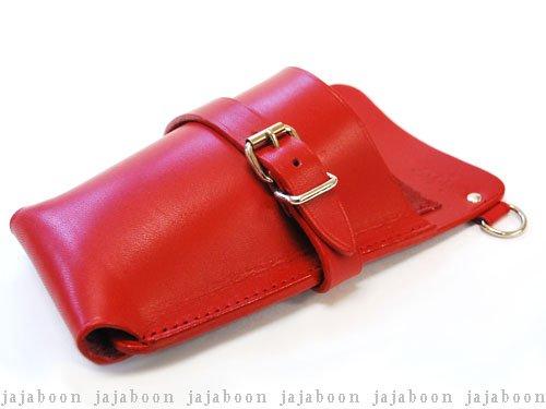 JAJABOON レザー シザーケース ホルスタータイプ 【赤】 左利き用 牛本革製 B002UP1J8A