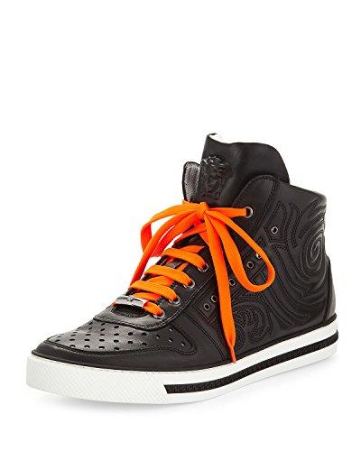 Versace-Mens-Embossed-Leather-High-Top-Sneaker-Black