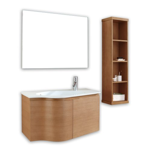 Virtu USA Roselle 36 inch Single Sink Bathroom Vanity Set in Chestnut w/ Integrated Round Sink, White Ceramic Countertop, No Faucet, 1 Mirror - ES-1236-C-CH