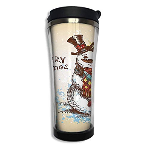 (Stainless Steel Insulated Coffee Travel Mug,Spill Proof Flip Lid Insulated Coffee cup Keeps Hot or Cold 14.2oz(420 ml)Customizable printing bySnowman,Artistic Snowman with Winter Accessories Color Spl)