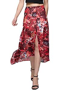 2611567J045252150TD Red Floral High-Low Hems Split Skirt Red Size S