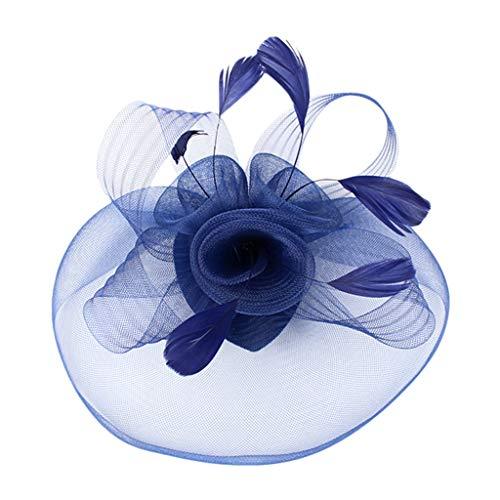 BXzhiri Fascinators for Women Women's Elegant Feather and Veil Fascinator Tea Party Wedding Headband Feather Brooch Hair Clip