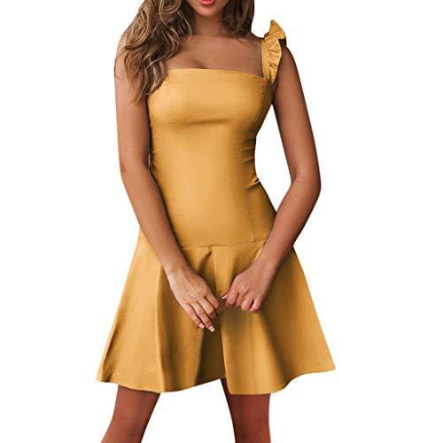 Sunhusing Ladies Sexy Ruffled Strapless Strapless Tube Top Slim Bag Hip Princess Dress Mini Pleated Dress Yellow