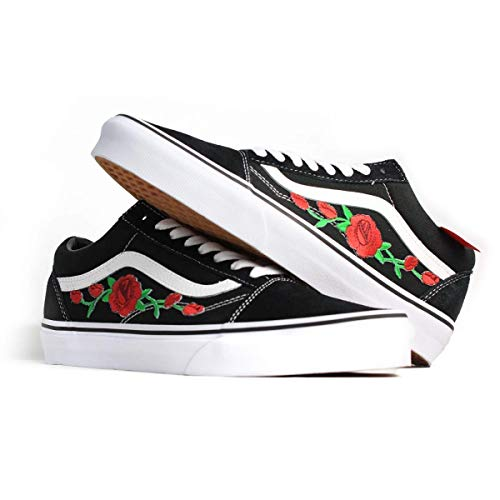 ff8250c0d7 Amazon.com  Vans Red Old Skool Embroidered Red Rose Custom Handmade Shoes  By Patch Collection  Handmade