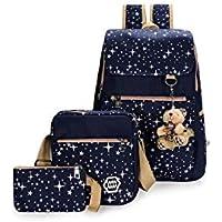 Canvas Girl School Bags For Teenagers backpack women Three piece suit shoulder bags 3 Pcs/Set rucksack mochila knapsack
