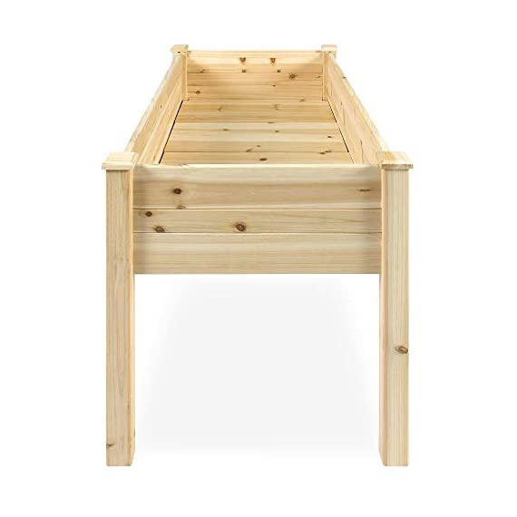Best Choice Products 46x22x30in Raised Wood Planter Garden Bed Box Stand for Backyard, Patio - Natural 5 SPACIOUS GARDENING BED: Designed with a nearly-4-foot-long bed deep enough to ensure your plants can breathe and grow healthy DURABLE COMPOSITION: Made of 0.75-inch-thick, weather-resistant Cedar wood, this bed is built to last through the seasons ERGONOMIC STRUCTURE: Stands 30 inches tall, making it perfect for those who struggle to bend down or lean over while gardening