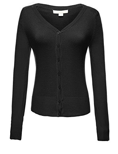 Plus Size Basic V-neck Longsleeve Fitted Cardigans,001-Black,US 2XL
