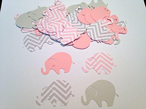 50 Elephant Baby Shower, 2 Inch Elephant Pink Gray Chevron Elephant, Elephant Cutout, Elephant Cupcake Topper Supplies, Elephant Die Cut, Elephant Decor, It's a Girl (Pink Gray Elephant Baby Shower)