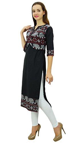 Kurti Phagun Femmes Designer Chic Tunique de Kurta Noir Style Ethnique Veste fqE4Ox1