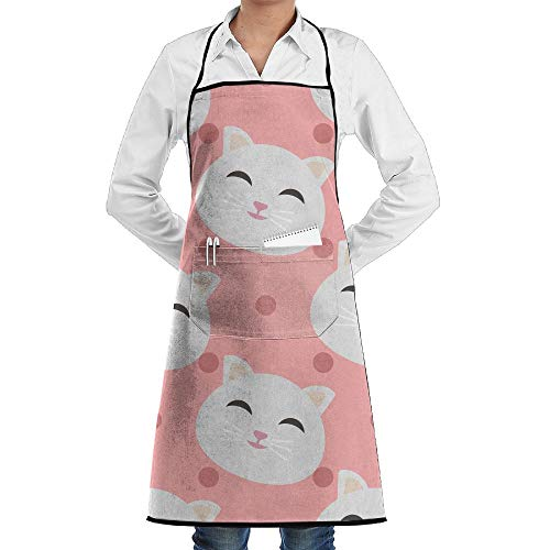 LOGENLIKE Pink Cats Pattern Kitchen Aprons, Adjustable Classic Barbecue Apron Baker Restaurant Black Bib Apron With Pockets For Men And Women