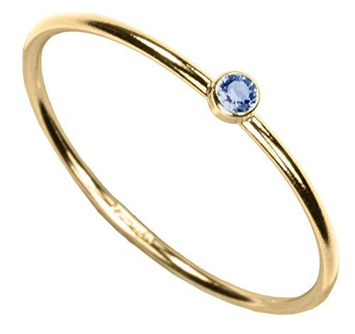 uGems 14kt Gold Filled Aquamarine-Color CZ Stacking Ring Size 8