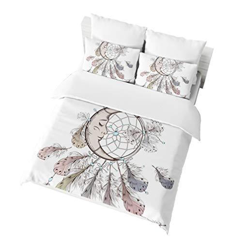 PHYHJH Dreamcatcher Duvet Cover Set Twin Size, Native American Boho Motif Magic Feathers Design Bohemian Theme, A Decorative 2 Piece Bedding Set with Pillowcases for Men Women, White