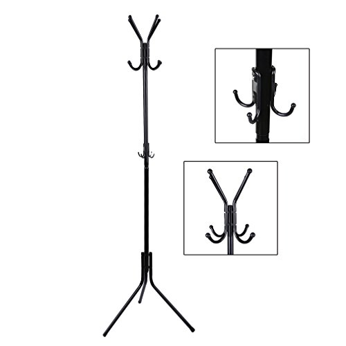 Topclouds Coat Rack Standing Hall Tree Coat Rack for Entryway with 12 Hooks, Metal and Black
