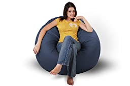 King Beany - Classic Vinyl Bean Bag Chairs - Navy Blue - Large