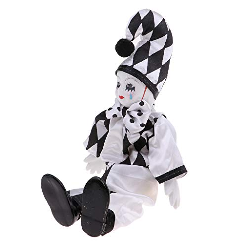 Fityle 25cm Flexible Porcelain Standing Clown Man Doll Wearing Costume Adult Collection ()