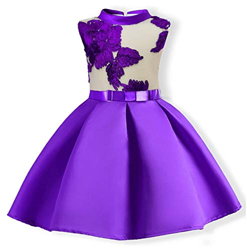 AYOMIS Flower Girl Pageant Dress Kids Party Embroidery