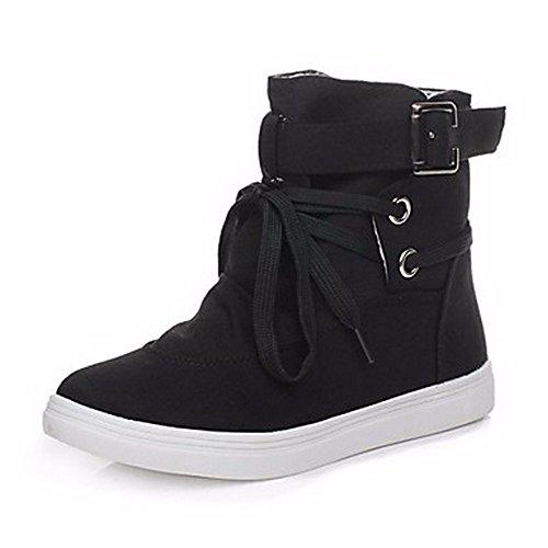 ZHUDJ Damenschuhe Stoff Schnee Im Winter Stiefel Round Toe Mid-Calf Stiefel Schnürschuhe Für Casual Grau Schwarz Black