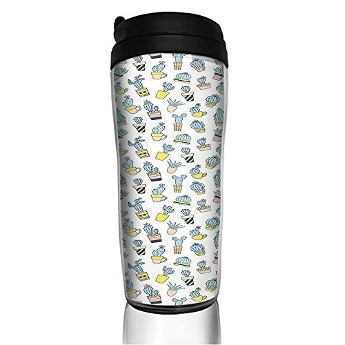 Stainless Steel Insulated Coffee Travel Mug,Foliage in Vases Latin American Inspirations,Spill Proof Flip Lid Insulated Coffee cup Keeps Hot or Cold 11.8oz(350 ml) Customizable printing