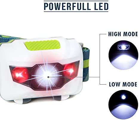 One of The Lightest 2.6 oz 3 AAA Batteries Included. Dog Walking Flood Headlight 130 Lumens LED Headlamp Great for Camping Hiking and Kids Head Lamp