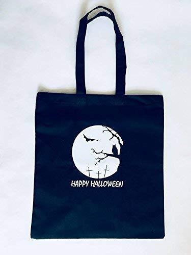 Halloween Tote Bag, Trick or Treating Bag, Halloween Party Favor, Seasonal Multi-Purpose Tote, Cotton Canvas 15 x 16 inch, Black