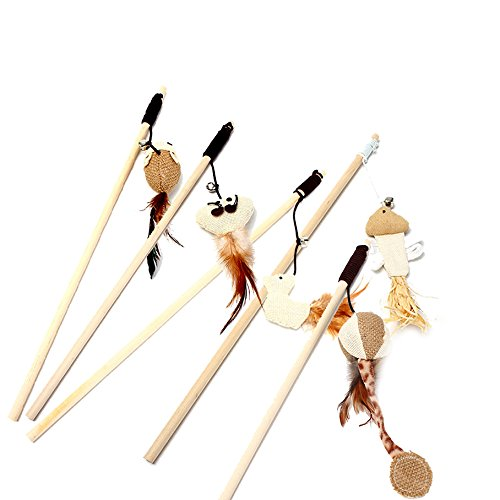 The Natural Cat Toy with Wand and Linen Toy (Mouse, Ball, Chicken, Squid, Fish, Sets of 5) with Bell on Elastic String By Ruri's