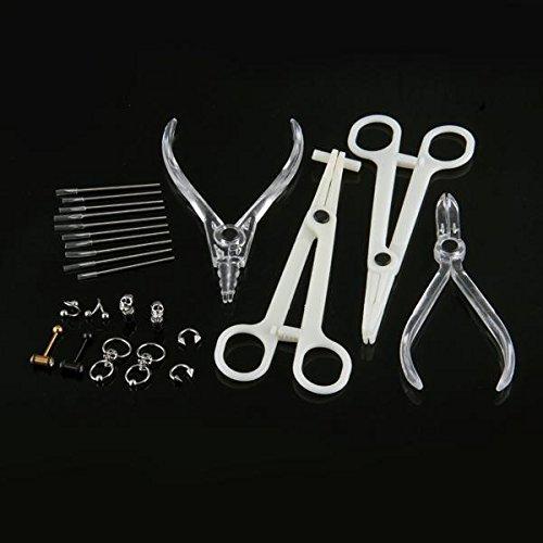 FACILLA® Kit Outils Piercing Nombril Lèvre Acier Inoxydable Chirurgical + 5 Paire Bijoux