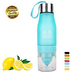 HANTAJANSS Water Bottle Outdoor Sport Portable Cycling Lemon Bottle BPA Free Fruit Infuser Bottles