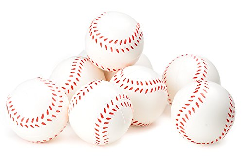 Baseball Sports Themed 2.5-Inch Foam Squeeze Balls for Stress Relief, Relaxable Realistic Baseball Sport Balls - Bulk 1 Dozen