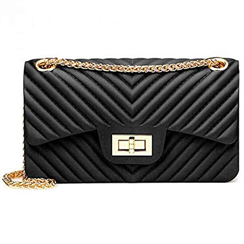 (Peudo Women Fashion Shoulder Bag Jelly Clutch Handbag Quilted Crossbody Bag with Chain (Black,210x120x70mm))