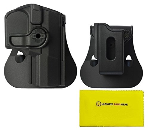 IMI Defense Z1420 360° Rotate Holster Walther M1 (PPQ Classic), M2 Right Handed, Black + ZSP07 9mm/.40 Single Mag Pouch + Ultimate Arms Gear Care Silicone Cleaning Cloth