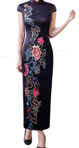 Slit 7 Side Stand Embroidered Women Dress Qipao Collar Comfy Chinese v7wH6xnW