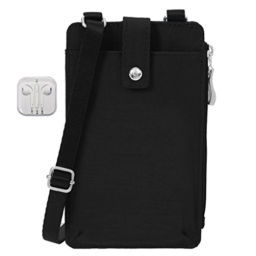 Baggallini On The Run Phone Case Wallet With Shoulder Strap Bundle with Travel Earphone (Black)
