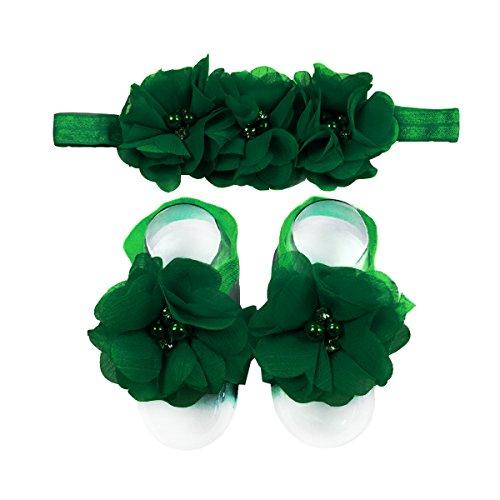 LD DRESS Baby Girl Foot Flower + Headband (Green) Green Flower Dress
