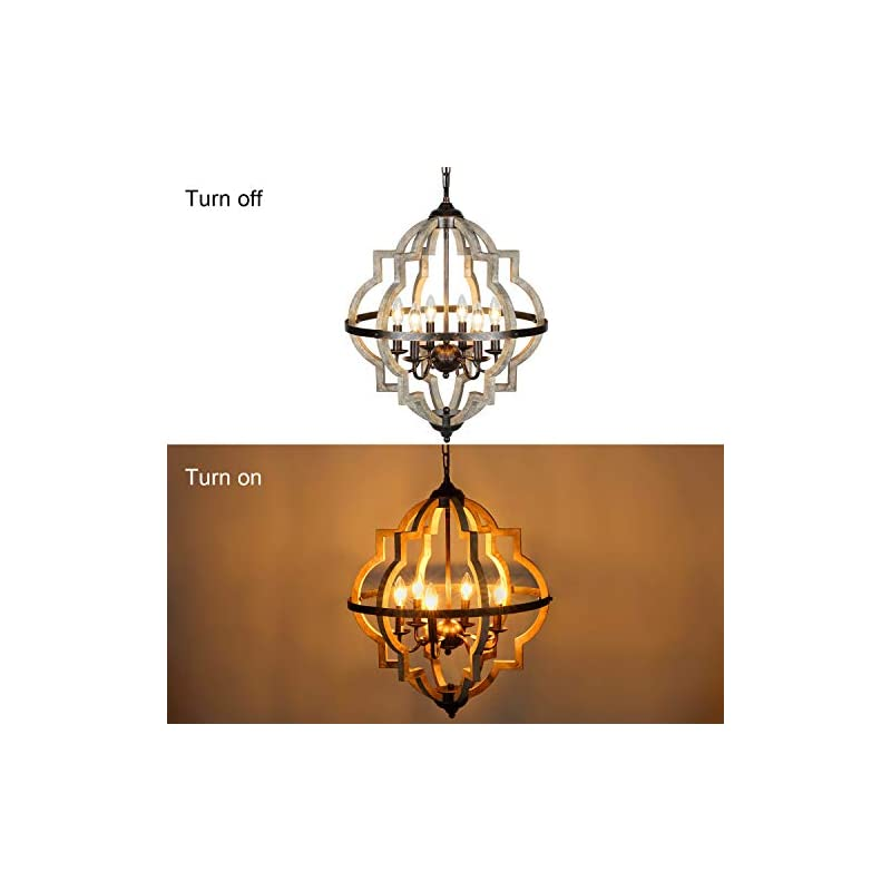 T&A Orb 6-Light Farmhouse Chandelier, Stardust Finish Rustic Brown Chandelier,Wood and Iron Component Vintage Island…