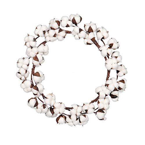 Finedayqi  Handmade Simulation Cotton Garland Dried Flower Artificial Wreath for Wall Decor