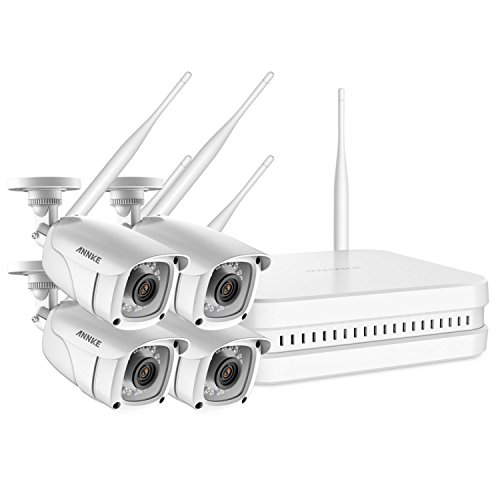 ANNKE Wireless Security Camera System- FHD 1080P 8CH Wi-Fi NVR Video Surveillance System, 4×1080P Outdoor Bullet IP Cameras with Smart IR and 100ft Night Vision, Remote Access,NO HDD