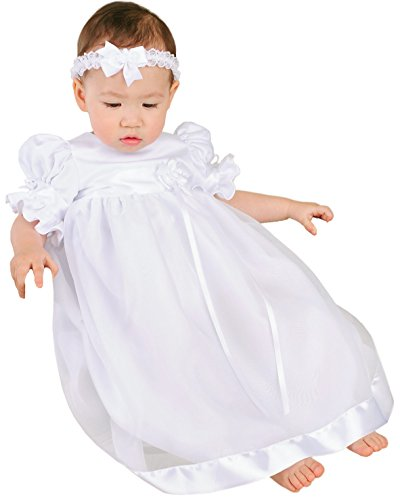 Clarice 12 Month Satin and Organza Christening Baptism Blessing Gown for Girls, Made in USA