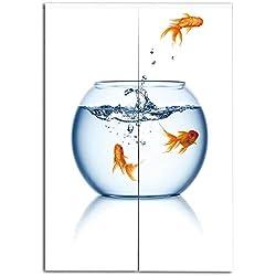 iPrint Door Curtain(Two Panels) Print,Aquarium,Goldfish Jumping Out of The Fishbowl Freedom Escape Challenge Bravery Theme Decorative,Blue Orange White,3D Print Design,W37.4 xH39.4