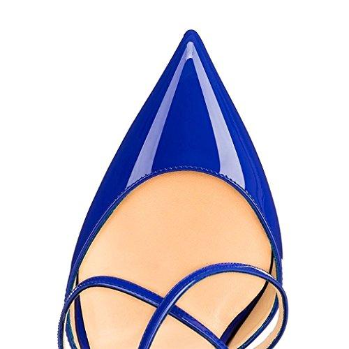 Bout pointu fermée Bride Escarpins Aiguille ELASHE par fermé Cheville Talon Boucle 12CM Bleu Femme IqvwPIAES
