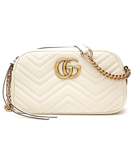 Wiberlux Gucci Women's Logo Detail Chevron Quilted Crossbody Bag One Size White