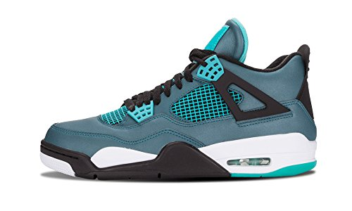 Nike Mens Air Jordan 4 Retro 30th ''Teal'' Teal/White-Black Leather Size 9.5 Basketball Shoes by Jordan