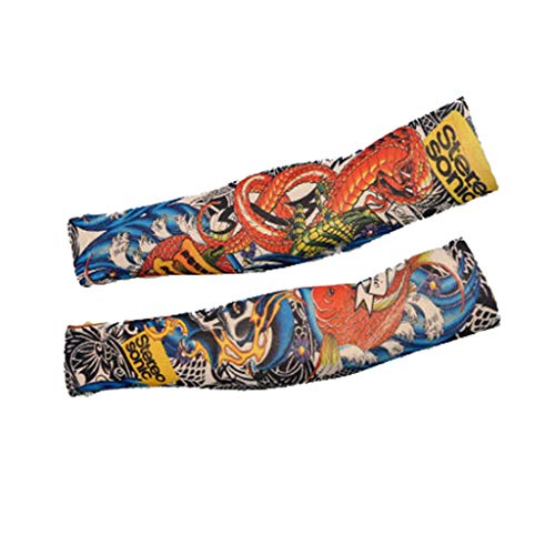 - Hohaski 2pcs Fish and Snake Nylon Elastic Temporary Tattoo Arm Sleeves Arts Fake Slip on Arm Sunscreen Sleeves Body Stockings Protector -Designs Unisex Stretchable Cosplay Accessories