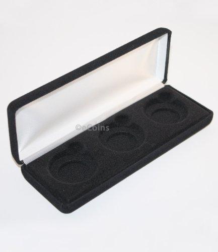 Black Felt COIN DISPLAY GIFT METAL DELUXE PLUSH BOX holds 3-Half Dollars US JFK
