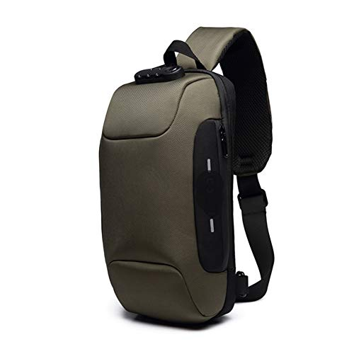 LFFBAG New Chest Bag USB Anti-Theft Men's Chest Bag Korean Casual Men's Shoulder Bag Waterproof Oxford Cloth Chest Bag,Brass ()