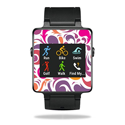 MightySkins Protective Vinyl Skin Decal for Garmin Vivoactive Smartwatch cover wrap sticker skins Swirly Girly