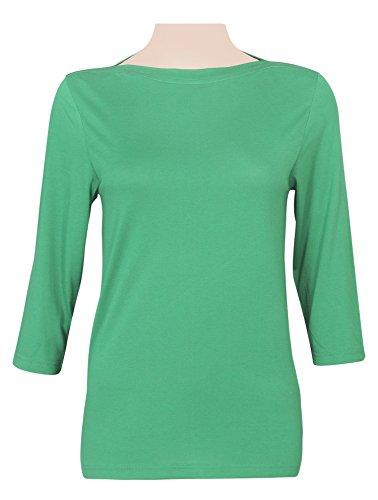 Blusa Top Tee 3/4 de algodón, colores claros para dama bosque