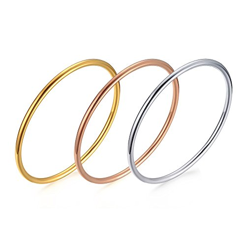 Stainless Steel Tri-color Plain Thin Hoop Infinity Triple Stacking Bangle Bracelets Set of 3 for Women