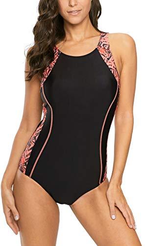 (belamo Splice one Piece Swimsuit for Women Racerback Color Block Swimwear)