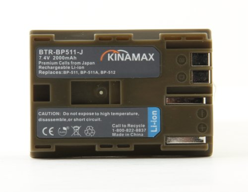 (Kinamax 2000mAh BP-511 / BP-512 Replacement Battery for Canon EOS 10D, 20D, 30D, 40D, 5D, D30, D60, Rebel, Optura 100MC, 200MC, Pi, Xi, PowerShot G2, G3, G5, G6, Pro 1, 90 IS, ZR40, ZR45MC, ZR50MC, ZR60, ZR65MC, ZR70MC, ZR80, ZR85, ZR90)
