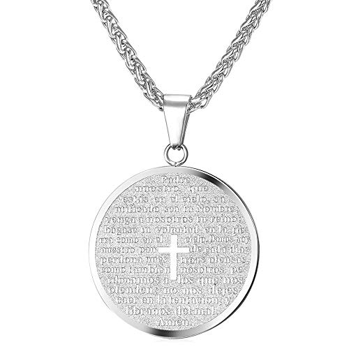 U7 Steel Chain Christian Lord's Prayer and Cross Medallion Pendant Necklace